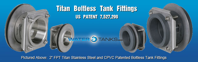 Titan Boltless Tank Fittings, Plastic Tank Fittings